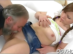 Crazy old boy licks young pussy