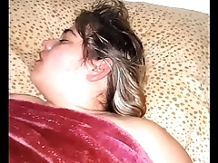 Pussy fucking my sleeping milf wife with her legs up