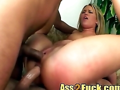 Fat dongs double penetrate blonde chick threesome