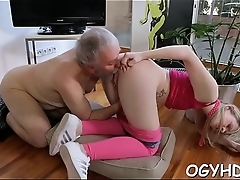 Young active hotty blows old weenie