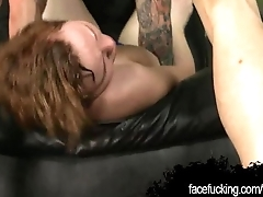 Lil Red sucking deep and gagging at facefucking