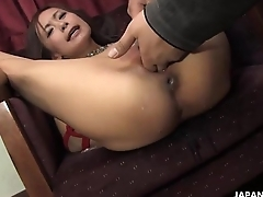 Squirting as uncle toys her in the bdsm session