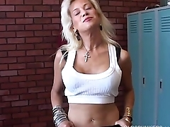 Super cute blonde MILF fucks her soaking wet pussy for you
