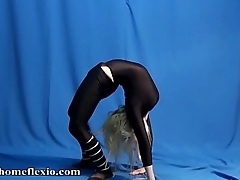 Flexible 19 year old blonde stretching
