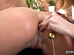 Sensual czech kittens spread their asses with anal plug and enormous dildos