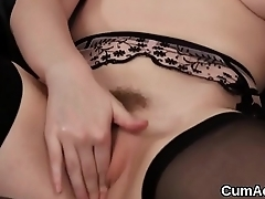 Frisky peach gets cumshot on her exposure eating all the ejaculate