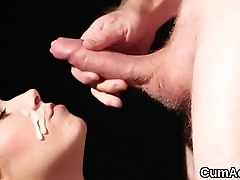 Kinky hottie gets cum load on her face eating all the semen