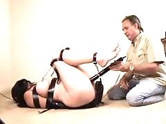 Busty babe tied leather mask whip forced to cum stormy bondage bdsm hard