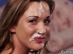 Frisky stunner gets jizz load on her face swallowing encompassing the cum