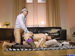 English mature in stockings sucking in trio