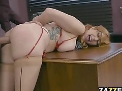 Will Ms. Phillips be able to impress Mr. D with her titty-fucking  skills