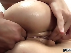 Sultry czech nymphos stretch their bootys with butt plug and enormous sex toys