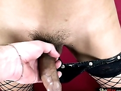 Asian ladyboy beauty handjobs tourists dick on camera in POV