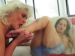 Teen gets pussylicked by wild granny