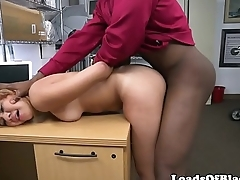 Casted babe slammed on top of desk