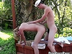 Frankie plus Seth experiencing cock for the first time