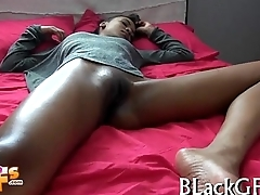 Black girl bounces on hard dong