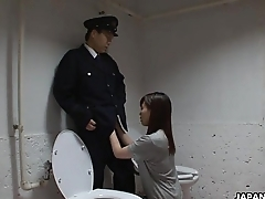Asian prisoner sucking off the guard'_s penis