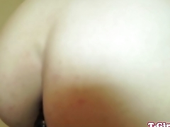 Redhead tgirl toys in twosome before blowjob