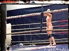 European babes wrestling in a boxing ring