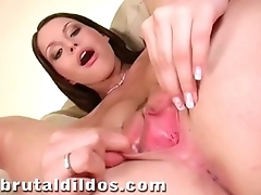Beautiful brunette Marketa Brymova cums on a brutal dildo