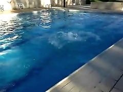Spanish guy dare to strip naked in the pool contribute to friends