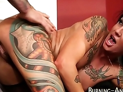 Tattooed babe gets fucked