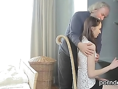 Kissable schoolgirl gets tempted and screwed by their way elderly instructor