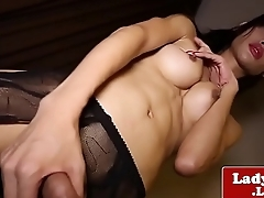 Busty stockinged ladyboy tugging cock