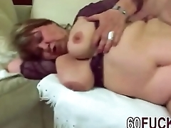 Fat granny Dominika riding younger cock like cowgirl