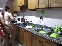 Cooking naked and eating pussy