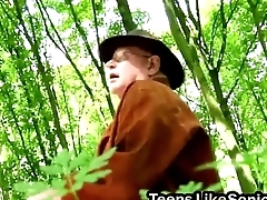 Teen gets sixty nine and pounding from senior in woods