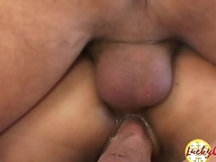 DP ass fucked tiny asian fuckhole whore ready for fat sperm cream in face