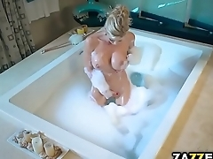 Alexis in a bath tub naked satisfying herself