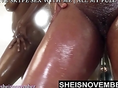 PISSING ASIAN EBONY GIRL PLAYING IN BATHROOM WITH OIL ALL OVER HER BODY Blue BBW