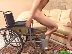Handicapped ladies' in wheelchair gets dick sucked by chubby and horny brunette1
