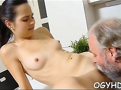 Hot young honey team-fucked by old guy
