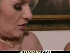 Horny mom with strap-on seduces his GFHorny mom with strap-on seduces his GF