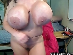 Milf with huge tits fingering herself on cam - olalacam