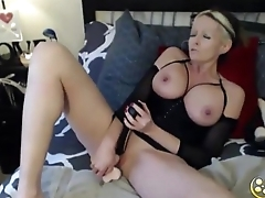 Sexy mommy  with amazing body with natural big tits fucks a shaved pussy