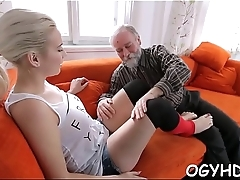 Young  beauty impaled on old rod