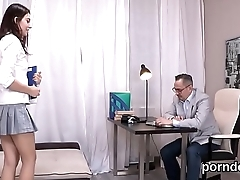 Ideal schoolgirl gets teased and fucked by her elderly schoolteacher