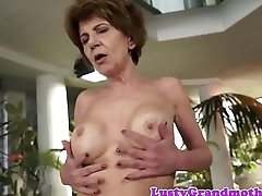Bigtits grandma sucking cock on her knees