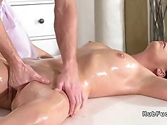 Young masseur bangs brunette Milf