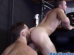 Ripped jock drilled after outdoor workout