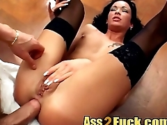 Pervy brunette strokes and sucks two dick before getting double penetrated