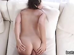 Flawless slender nympho gets her pink vulva and tiny ass hole screwed