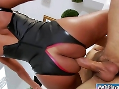Big tits tgirl Gladys Adriane in latex outfit gets ass boned