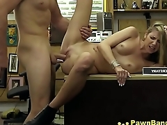 Dirty Blonde Slut Gets Massive Cock In Her Mouth &amp_ Vagina For Dollars